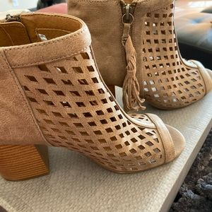 Taupe open toed booties